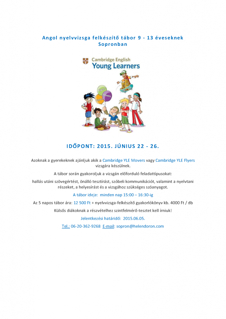 Angol nyelvvizsga felkészítő tábor_2015